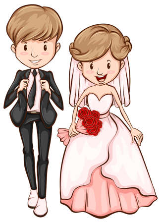 Illustration of a sketch of a happy couple on a white background Vector