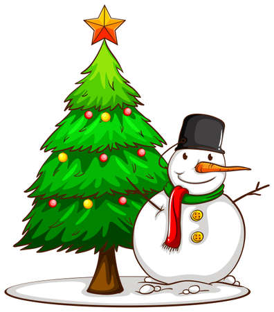 Illustration of a simple sketch of a snowman beside the Christmas tree on a white background