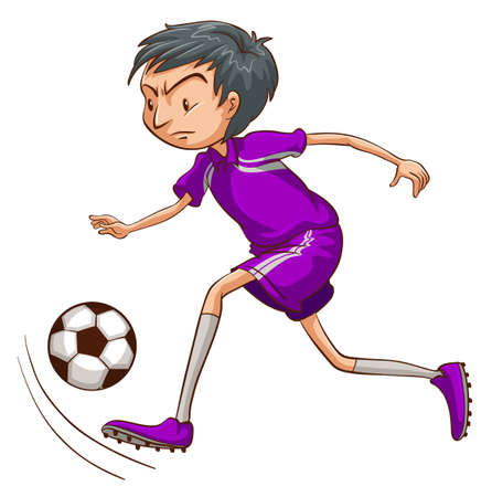 contingent: Illustration of a soccer player with a violet uniform on a white background Illustration