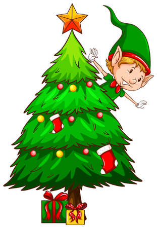 Illustration of a coloured sketch of a christmas tree on a white background Vector