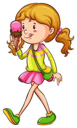 sweetened: Illustration of a coloured sketch of a girl eating on a white background