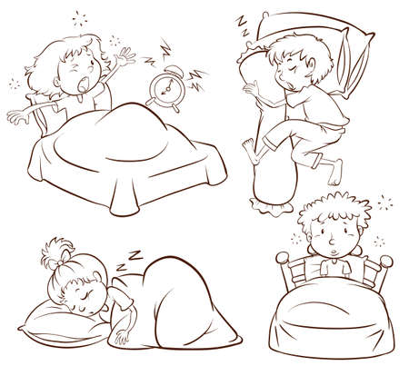 Illustration of a plain sketch of kids sleeping and waking up early on a white background Illustration