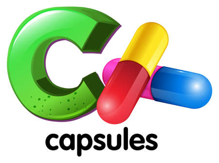 dissolved: Illustration of a letter C for capsules on a white background Illustration