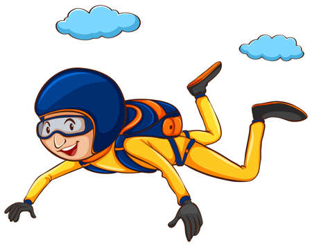 Illustration of a simple sketch of a man sky diving on a white background