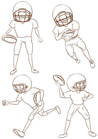 contestant: Illustration of the plain sketches of the American football players on a white background Illustration
