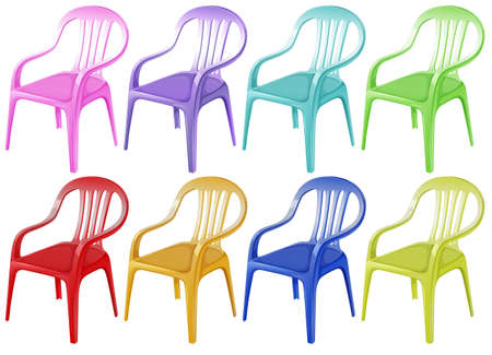 plastic texture: Illustration of the colourful plastic chairs on a white background