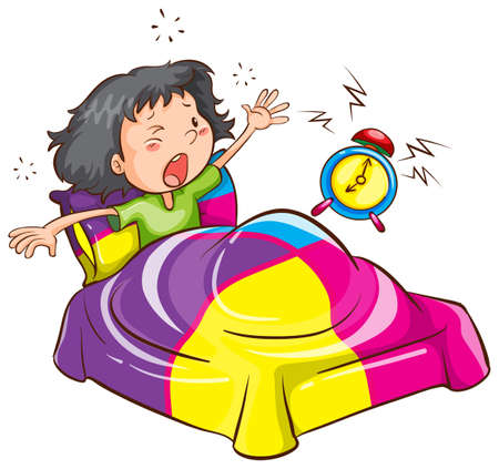 awake: Illustration of a young girl with an alarm clock on a white background