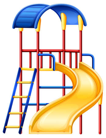 climbing ladder: Illustration of a colourful slide on a white background