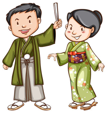 traditional culture: Illustration of a coloured sketch of a couple wearing an Asian dress on a white background Illustration