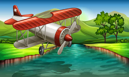 Illustration of an airplane flying over the river Vector