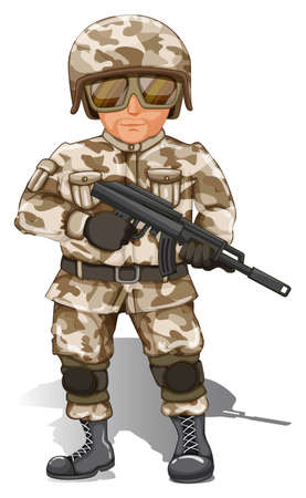 Illustration of a soldier with gun Vector