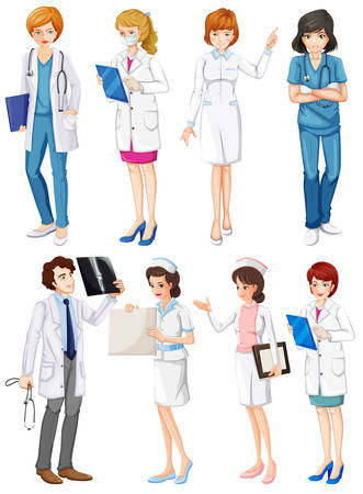 enfermera caricatura: Ilustraci�n de diversas actitudes de los m�dicos y enfermeras Vectores