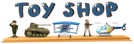 Illustration of many army toys Vector