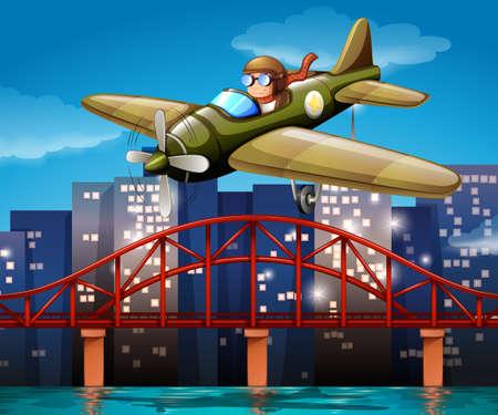 pilotos aviadores: Ilustraci�n de un piloto que vuela un avi�n