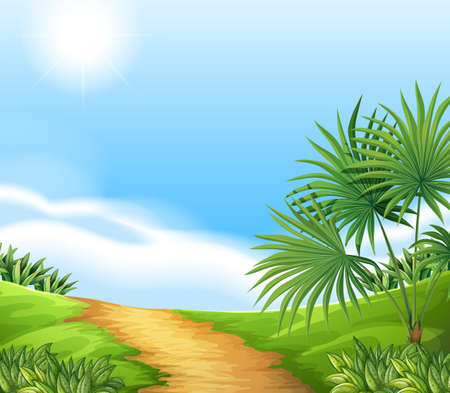 Illustration of a scene of a countryside Vector