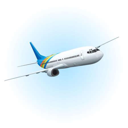 Illustration von einem Flugzeug fliegen in den Himmel