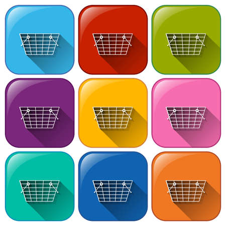 shopping cart icon: Illustration of different color shopping icons Illustration