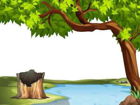 lake  pond  trees: Illustration of a view of a pond Illustration