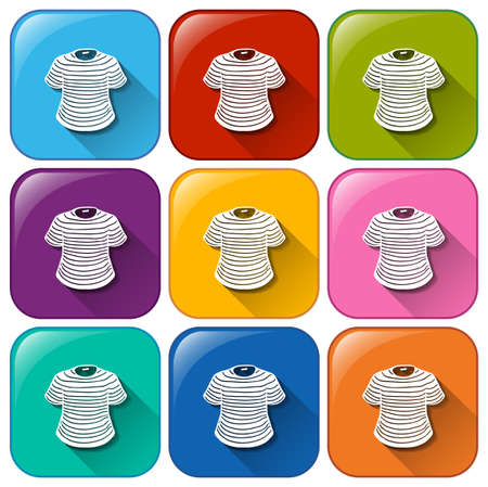 wet shirt: Illustration of the icons with t-shirts on a white background