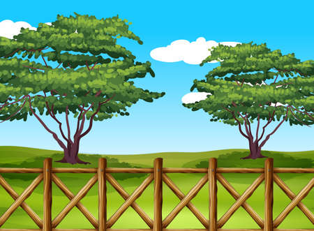 Illustration of a beautiful landscape with a fence