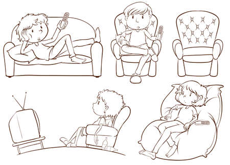 Illustration of the plain sketches of the lazy people on a white background