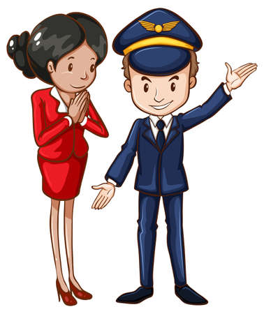 Illustration of a simple drawing of an air hostess and a pilot on a white background Ilustração