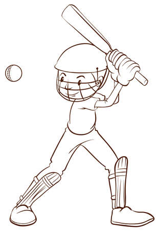 rehearsal: Illustration of a plain sketch of a cricket player on a white background Illustration