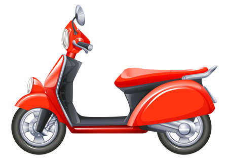 mopeds: Illustration of a red scooter on a white background Illustration