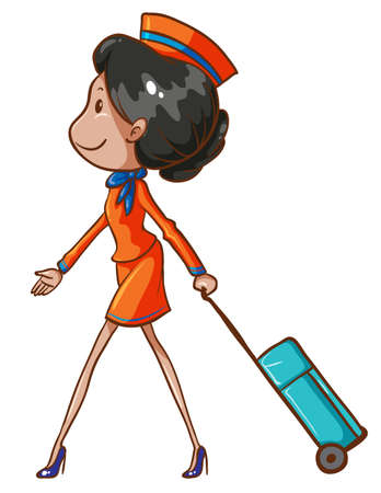 aircrew: Illustration of a coloured drawing of an air hostess on a white background