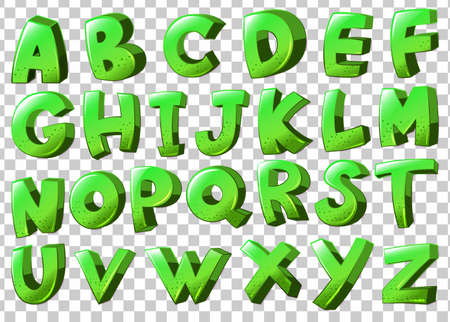u  k: Illustration of the letters of the alphabet in green color