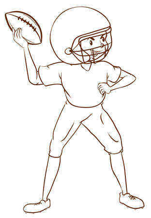 contingent: Illustration of a plain sketch of an American football player on a white background