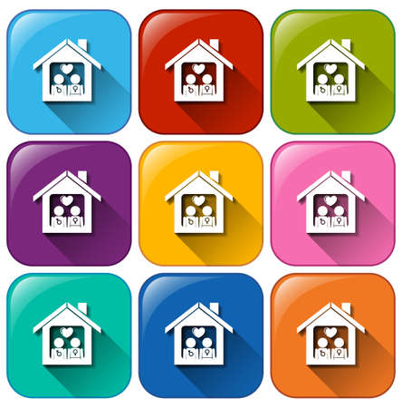 basic shapes: Illustration of the icons with a home on a white background