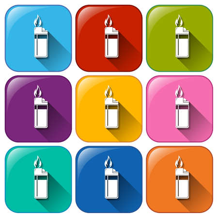 gas lighter: Illustration of the rounded icon with lighters on a white background
