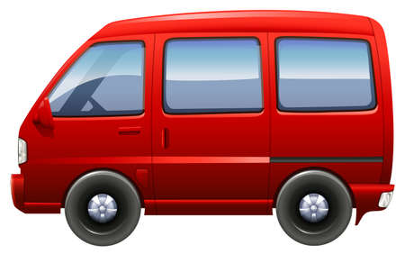 Illustration of a red minivan on a white background Illustration