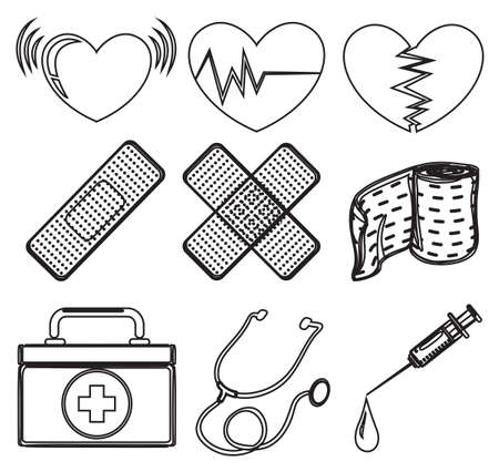 Illustration of the doodle design of the different medical tools on a white background Illustration