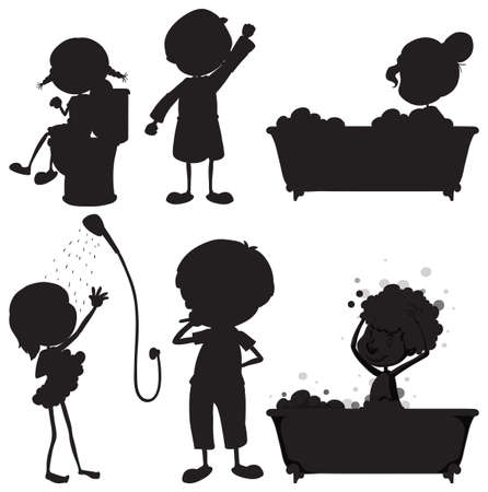 personal grooming: Illustration of the black sketches of the different morning routines on a white background Illustration