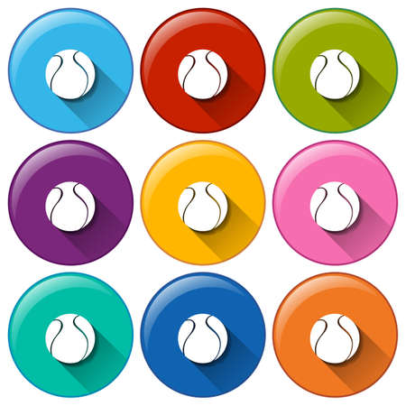 bounces: Illustration of the round icons with balls on a white background