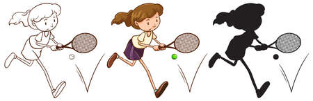 Illustration of a sketch of a tennis player in different colors on a white background Vector
