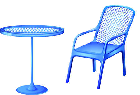 Illustration of a blue table and chair on a white background Illustration