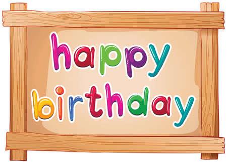 rectángulo: Ilustración de un cartel con una plantilla de feliz cumpleaños sobre un fondo blanco Vectores
