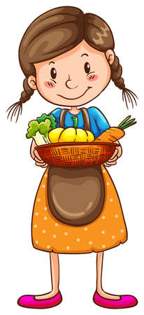 simple girl: Illustration of a simple drawing of a farm girl on a white background Illustration