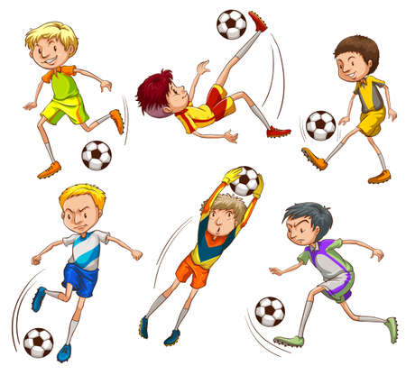 Illustration of the sketches of the soccer players on a white background Vector