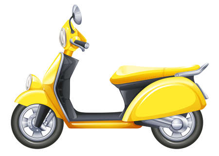 motorised: Illustration of a yellow scooter on a white background Illustration