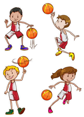contingent: Illustration of the basketball players on a white background Illustration
