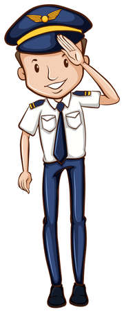 Illustration of a sketch of a happy pilot on a white background