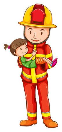 Ilustración de un dibujo de un bombero rescatando a una joven en un fondo blanco