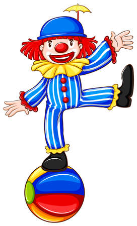 funny pictures: Illustration of a clown standing on a ball Illustration