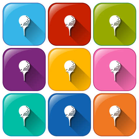 ovoid: Illustration of the rounded icons with golf balls on a white background Illustration