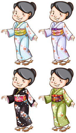 Illustration of a simple sketch of the girls wearing the Asian costume on a white background Vector