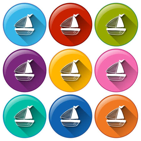 Illustration of different color boat icons
